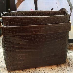 Vintage Ferragamo Croc Shoulder Bag EUC